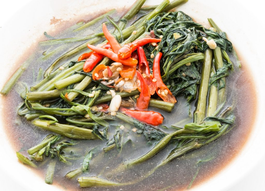 Close up of adobong kangkong