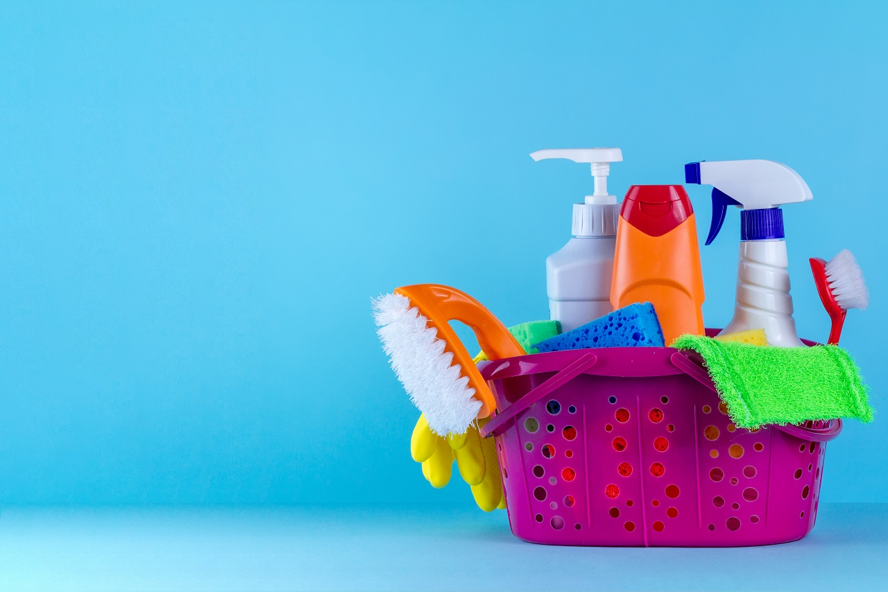 Various cleaning equipment on a blue background