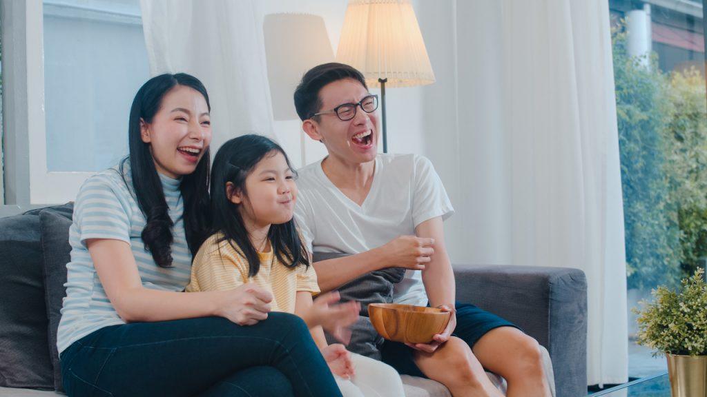 A family having a movie marathon